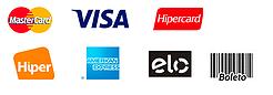 Aceitamos formas de pagamento em cartões e boletos